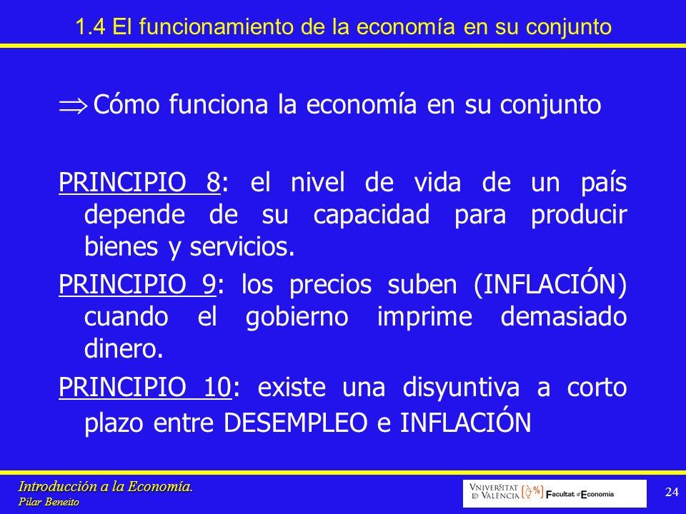 Introducción a la Economía. Pilar Beneito 24 1.4 El funcionamiento de la economía en su conjunto Cómo funciona la economía en su conjunto PRINCIPIO 8: