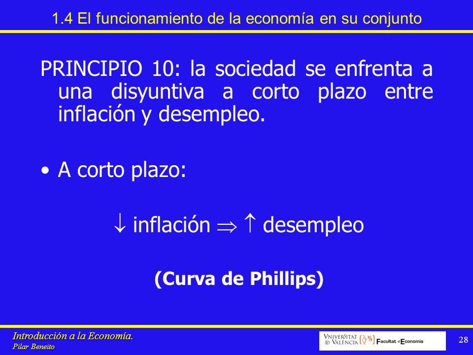 Introducción a la Economía. Pilar Beneito 28 1.4 El funcionamiento de la economía en su conjunto PRINCIPIO 10: la sociedad se enfrenta a una disyuntiv
