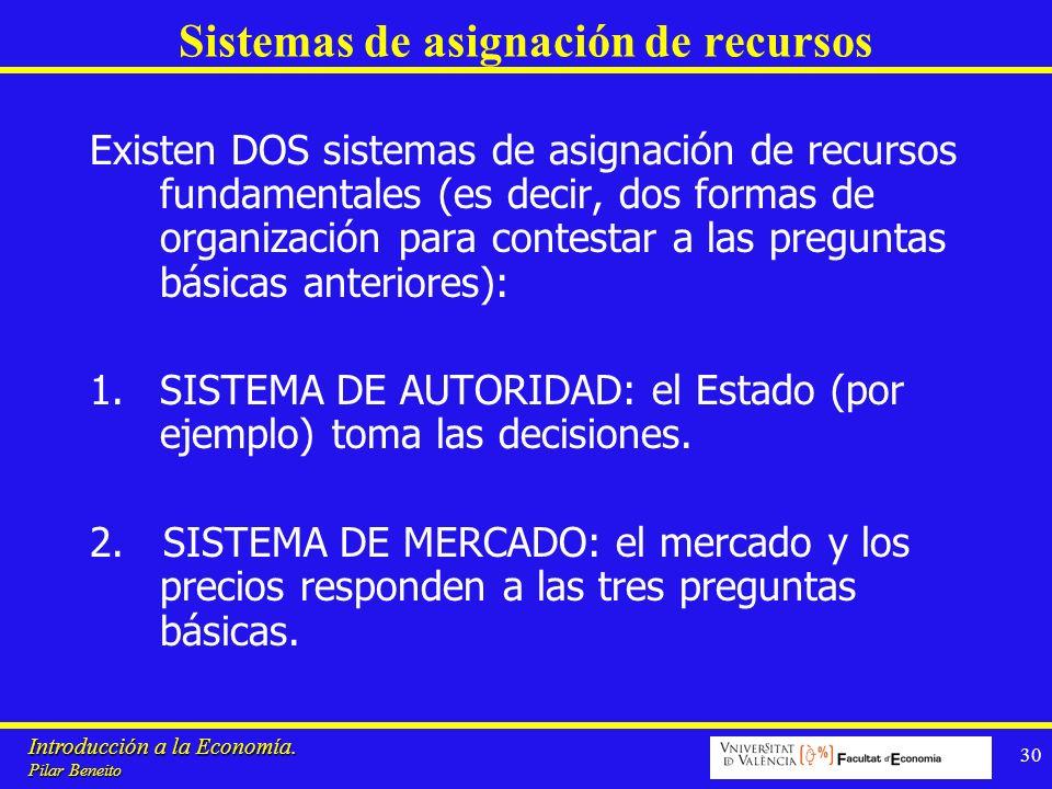 Introducción a la Economía. Pilar Beneito 30 Sistemas de asignación de recursos Existen DOS sistemas de asignación de recursos fundamentales (es decir