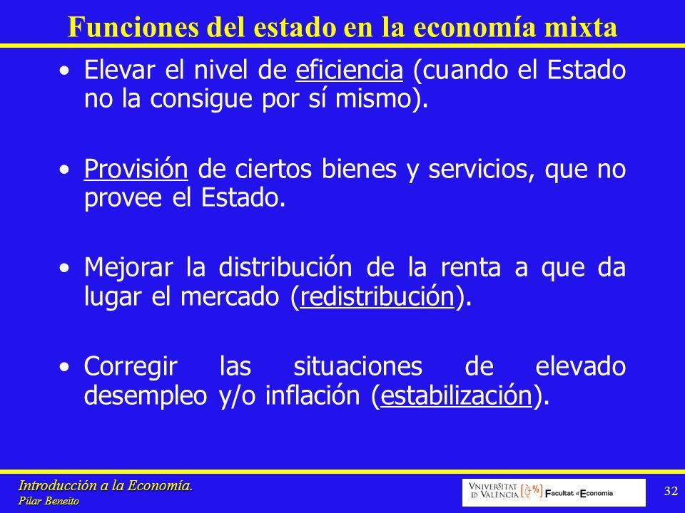 Introducción a la Economía. Pilar Beneito 32 Funciones del estado en la economía mixta Elevar el nivel de eficiencia (cuando el Estado no la consigue