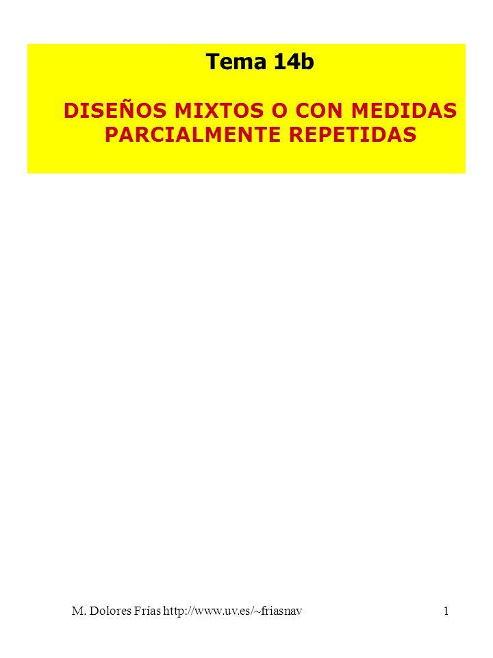 M. Dolores Frías http://www.uv.es/~friasnav1 Tema 14b DISEÑOS MIXTOS O CON MEDIDAS PARCIALMENTE REPETIDAS