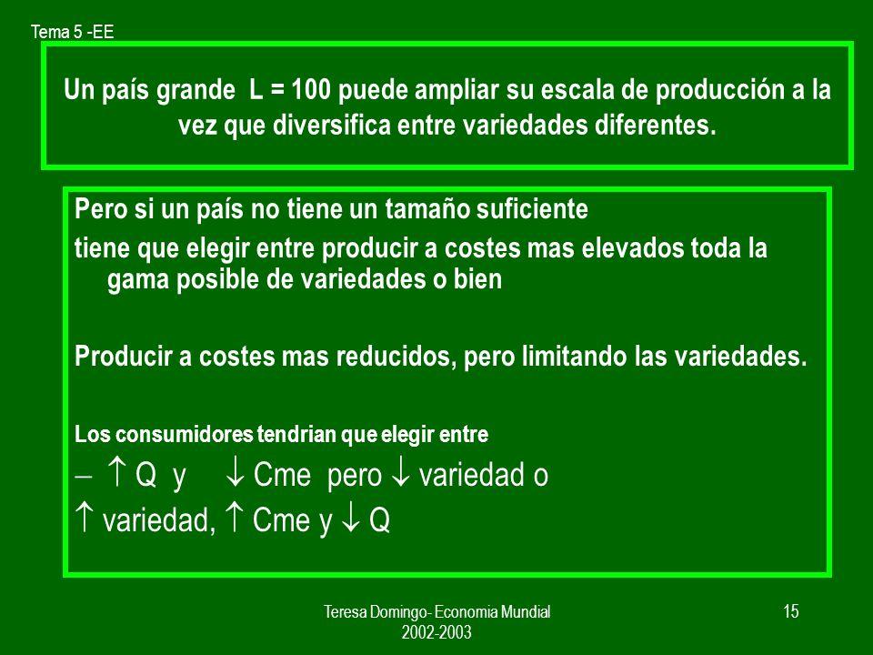 Tema 5 -EE Teresa Domingo- Economia Mundial 2002-2003 14 La diferenciacion de producto y el comercio Si se pueden producir diferentes variedades Y para producir cada variedad se incurre en costes fijos, además del coste variable según la cantidad producida.