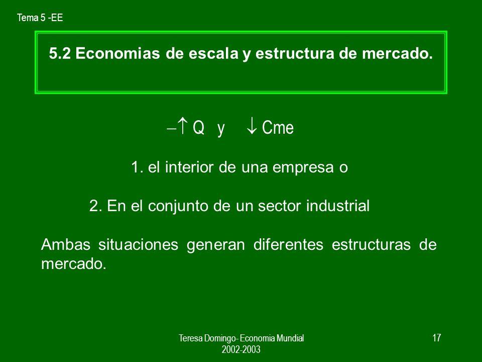 Tema 5 -EE Teresa Domingo- Economia Mundial 2002-2003 16 El comercio internacional hace posible a un país mediano aprovechar las ventajas de producir a escala sin renunciar a la variedad.