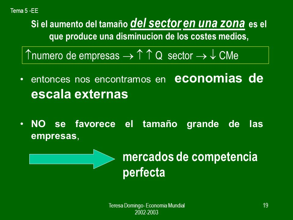 Tema 5 -EE Teresa Domingo- Economia Mundial 2002-2003 18 Si el aumento del tamaño de la empresa es la que produce una disminucion de los costes medios, 1.economias de escala internas, 2.se favorece el tamaño grande de las empresas, 3.al margen del tamaño del sector mercados de competencia imperfecta.