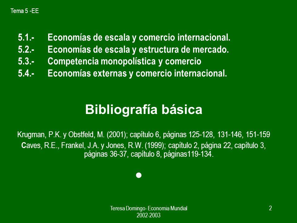Tema 5 -EE Teresa Domingo- Economia Mundial 2002-2003 1 Tema 5 ECONOMIAS DE ESCALA, COMPETENCIA IMPERFECTA Y COMERCIO INTERNACIONAL