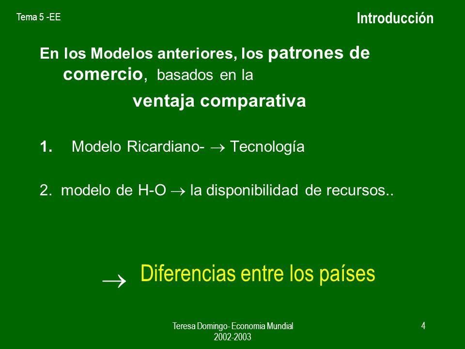 Tema 5 -EE Teresa Domingo- Economia Mundial 2002-2003 3 INTRODUCCION