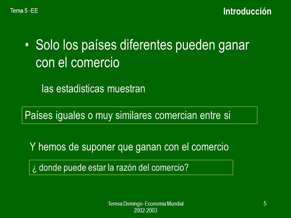 Tema 5 -EE Teresa Domingo- Economia Mundial 2002-2003 4 Introducción En los Modelos anteriores, los patrones de comercio, basados en la ventaja compar