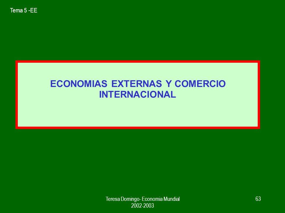 Tema 5 -EE Teresa Domingo- Economia Mundial 2002-2003 62 2.- C Intra entre países parecidos f ( EE y dif. producto) 3.- Puede seguir aumentando el com