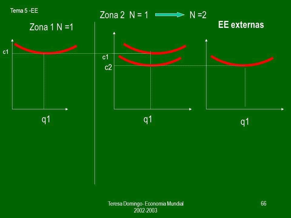 Tema 5 -EE Teresa Domingo- Economia Mundial 2002-2003 65 EE externas q1 c1 Zona 1 N =1 Zona 2 N = 1