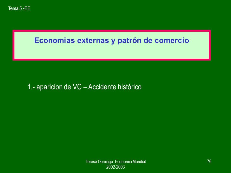 Tema 5 -EE Teresa Domingo- Economia Mundial 2002-2003 75 FACTORES EXPLICATIVOS 1.- PROVEEDORES ESPECIALIZADOS 2.- MERCADO DE TRABAJO ESPECIALIZADO importante en actividades artesanales, I+D...