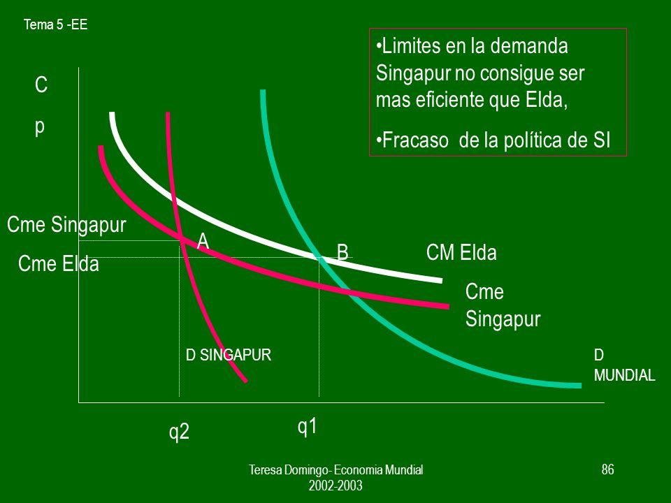 Tema 5 -EE Teresa Domingo- Economia Mundial 2002-2003 85 CpCp CM Elda Cme Singapur Cme Elda Cme Singapur q1q2 D MUNDIAL D SINGAPUR A B Singapur consigue ser mas eficiente que Elda Éxito de la política de SI
