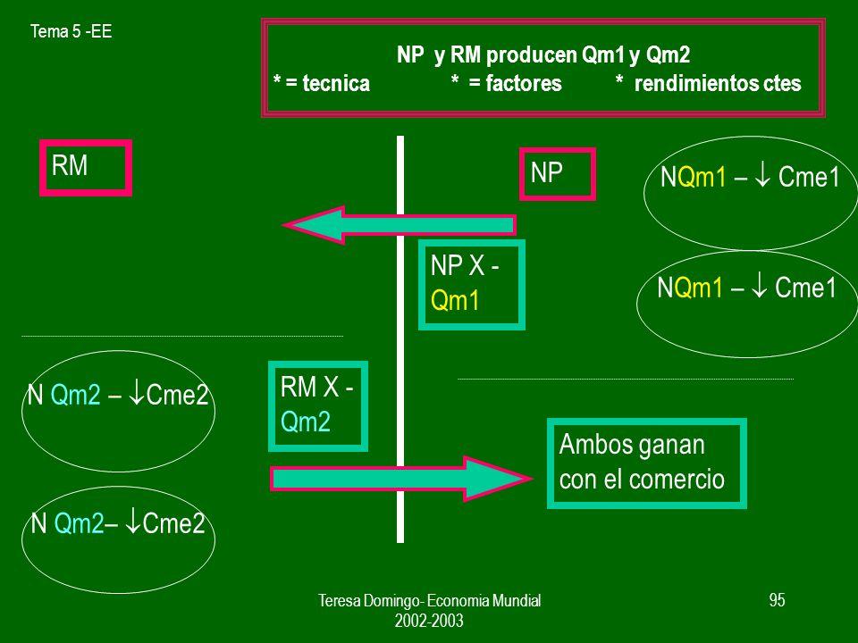 Tema 5 -EE Teresa Domingo- Economia Mundial 2002-2003 94 RM NP N Qm2 – Cme2 N Qm1 – Cme1 P Qm1 ( NP) < P Qm1 (RM) P Qm2 ( RM) < P Qm2 (NP)