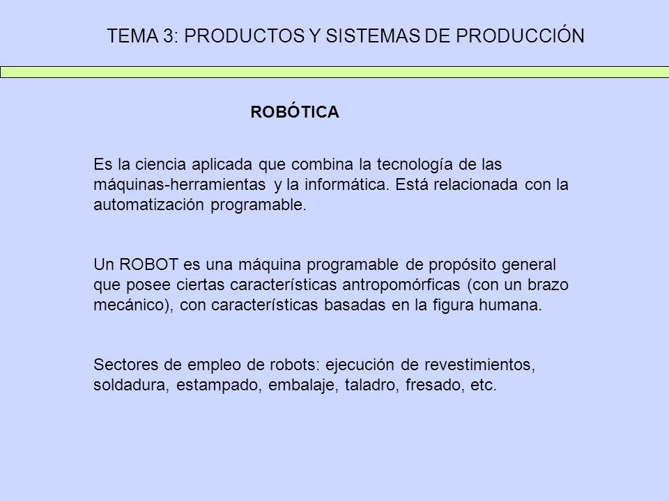 TEMA 3: PRODUCTOS Y SISTEMAS DE PRODUCCIÓN ROBÓTICA Es la ciencia aplicada que combina la tecnología de las máquinas-herramientas y la informática. Es