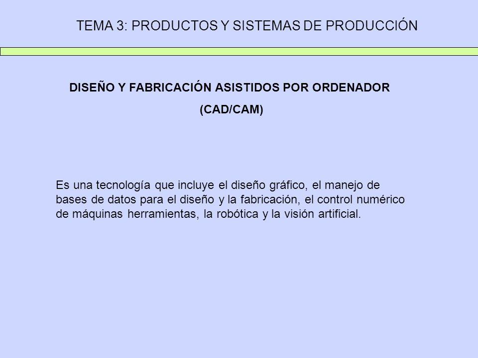 TEMA 3: PRODUCTOS Y SISTEMAS DE PRODUCCIÓN DISEÑO Y FABRICACIÓN ASISTIDOS POR ORDENADOR (CAD/CAM) Es una tecnología que incluye el diseño gráfico, el