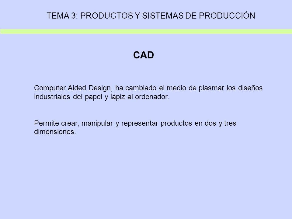 TEMA 3: PRODUCTOS Y SISTEMAS DE PRODUCCIÓN CAD Computer Aided Design, ha cambiado el medio de plasmar los diseños industriales del papel y lápiz al or