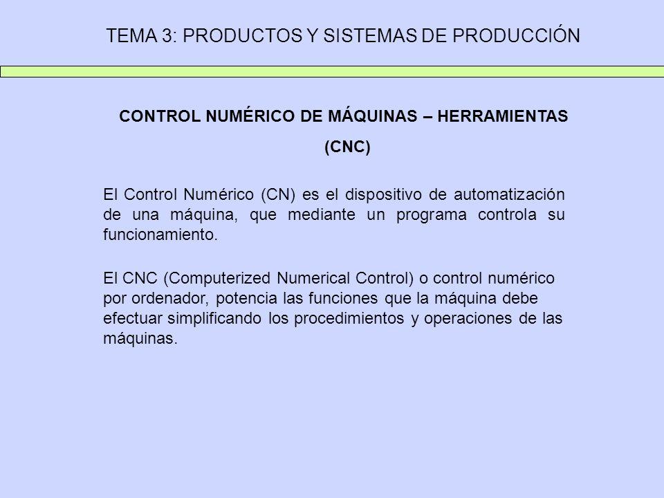TEMA 3: PRODUCTOS Y SISTEMAS DE PRODUCCIÓN CONTROL NUMÉRICO DE MÁQUINAS – HERRAMIENTAS (CNC) El Control Numérico (CN) es el dispositivo de automatizac