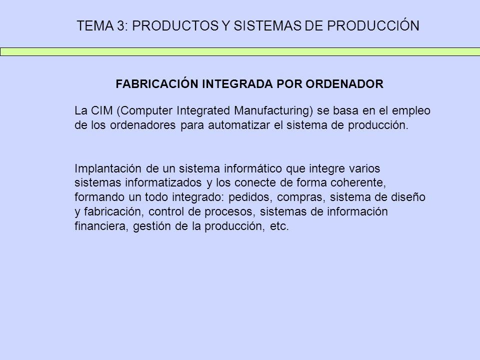 TEMA 3: PRODUCTOS Y SISTEMAS DE PRODUCCIÓN FABRICACIÓN INTEGRADA POR ORDENADOR La CIM (Computer Integrated Manufacturing) se basa en el empleo de los