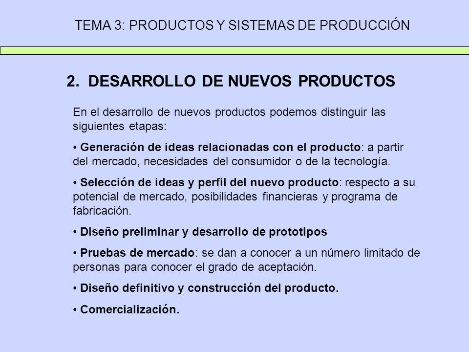 TEMA 3: PRODUCTOS Y SISTEMAS DE PRODUCCIÓN 2. DESARROLLO DE NUEVOS PRODUCTOS En el desarrollo de nuevos productos podemos distinguir las siguientes et