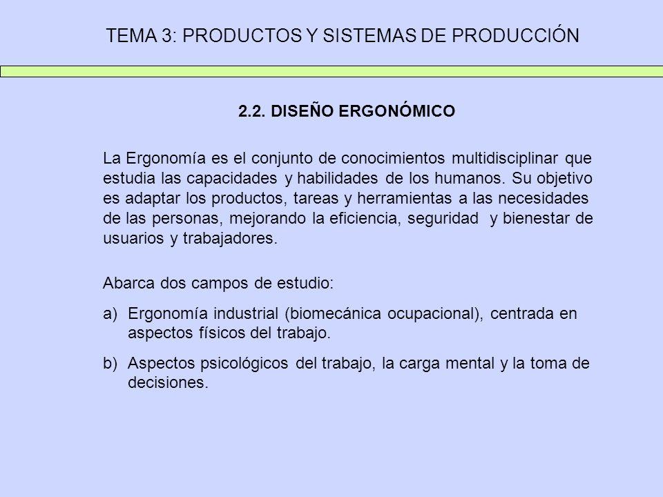 TEMA 3: PRODUCTOS Y SISTEMAS DE PRODUCCIÓN 2.2. DISEÑO ERGONÓMICO La Ergonomía es el conjunto de conocimientos multidisciplinar que estudia las capaci
