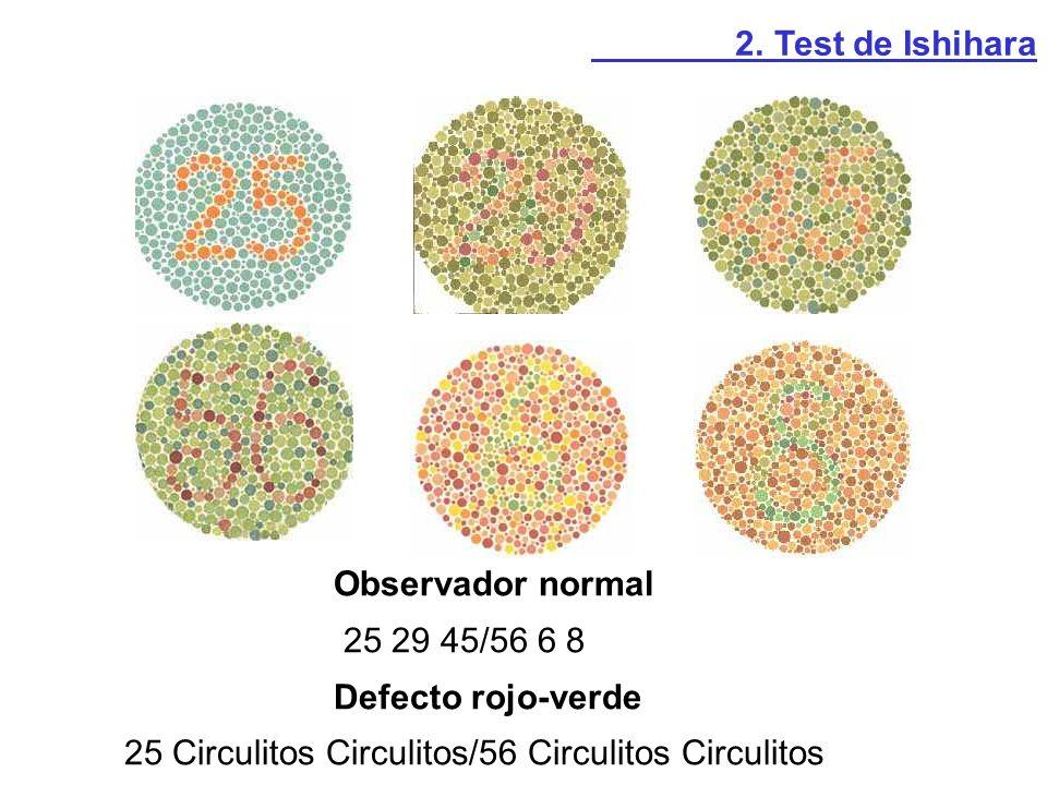 Observador normal 25 29 45/56 6 8 Defecto rojo-verde 25 Circulitos Circulitos/56 Circulitos Circulitos 2. Test de Ishihara