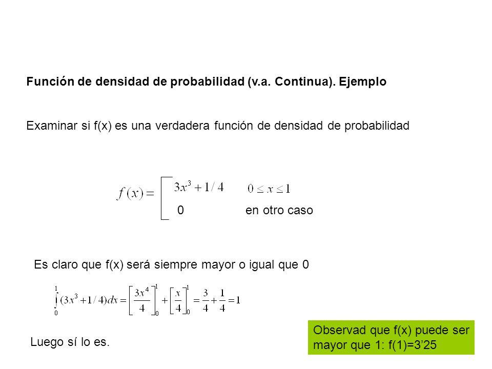 Función de densidad de probabilidad (v.a. Continua). Ejemplo Examinar si f(x) es una verdadera función de densidad de probabilidad 0 en otro caso Lueg