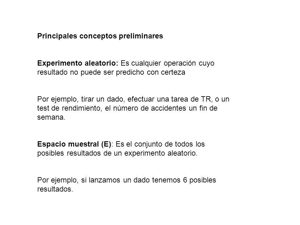 Principales conceptos preliminares Experimento aleatorio: Es cualquier operación cuyo resultado no puede ser predicho con certeza Por ejemplo, tirar u