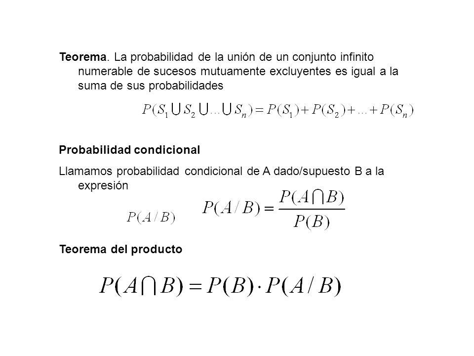 Teorema. La probabilidad de la unión de un conjunto infinito numerable de sucesos mutuamente excluyentes es igual a la suma de sus probabilidades Prob