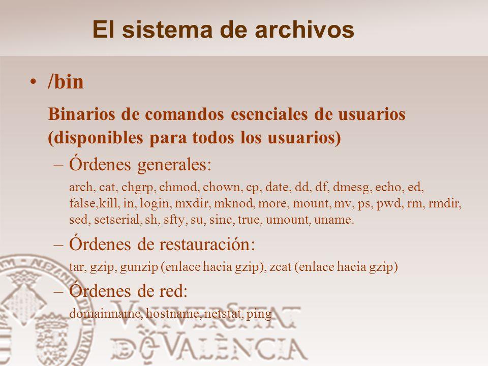 El sistema de archivos Directorio raiz –bin Binarios de comandos esenciales –boot Archivos estáticos de cargador de arranque(boot-loader) –dev Archivo