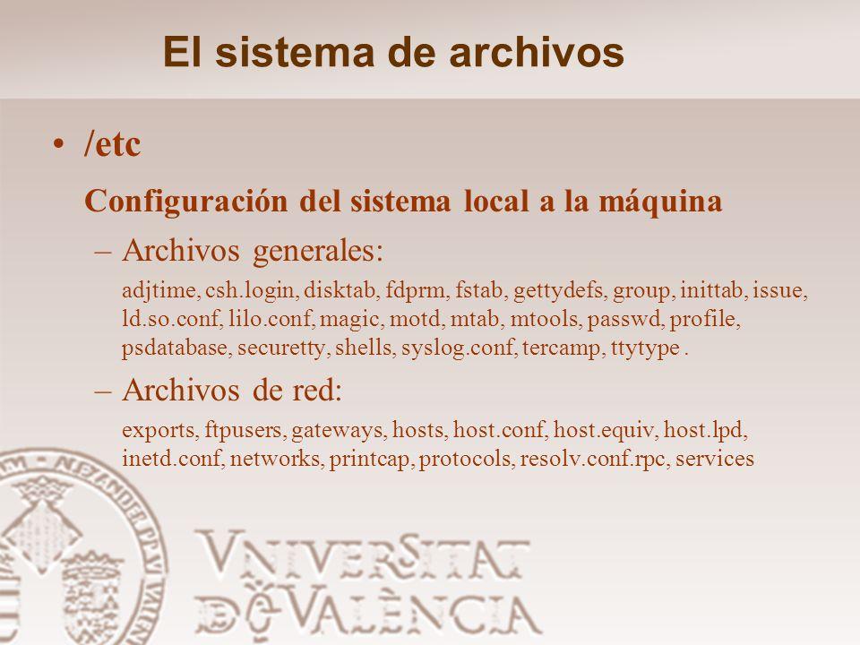El sistema de archivos /boot: Archivos estáticos del cargador de arranque (boot loader) /dev Archivos de dispositivos /home: Directorios hogar de los