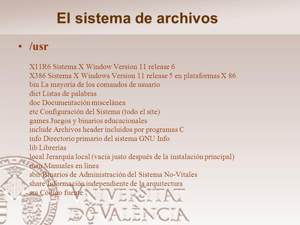El sistema de archivos /sbin Binarios del Sistema (Alguna vez mantenidos en /etc) –Órdenes generales: clock, getty, init, update, mkswap, swapon, swap