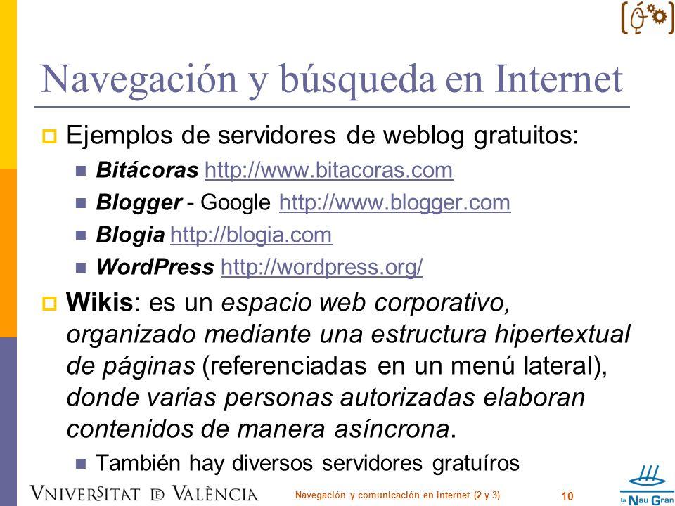 Navegación y búsqueda en Internet Ejemplos de servidores de weblog gratuitos: Bitácoras http://www.bitacoras.comhttp://www.bitacoras.com Blogger - Goo