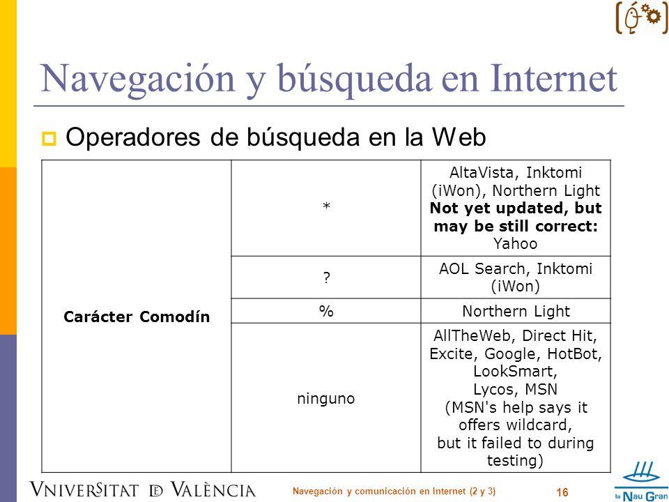 Navegación y búsqueda en Internet Operadores de búsqueda en la Web Navegación y comunicación en Internet (2 y 3) 16 Carácter Comodín * AltaVista, Inkt