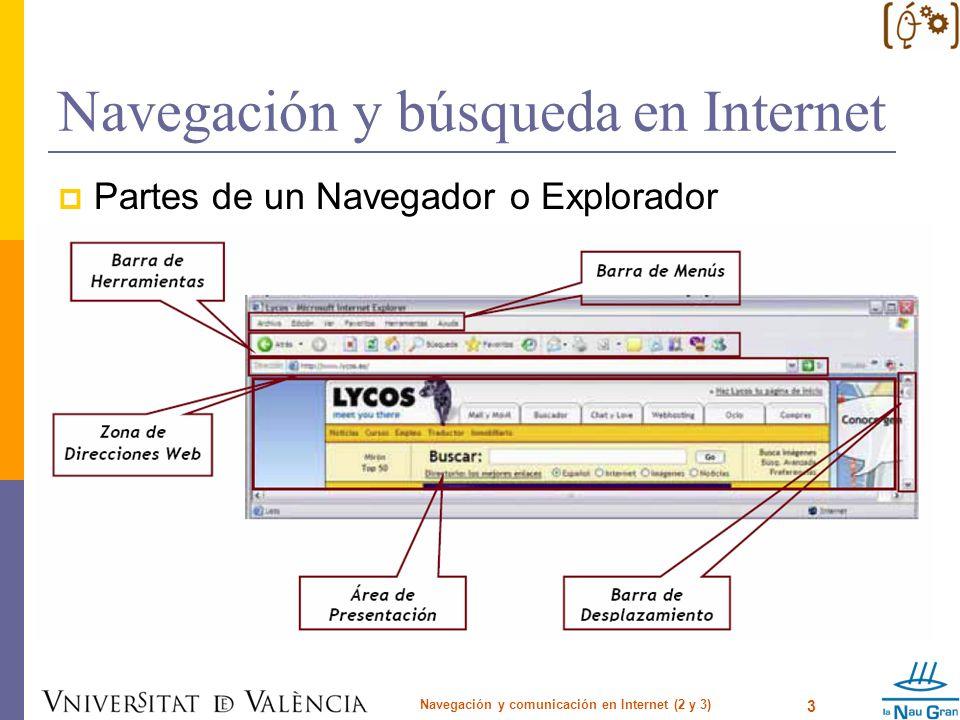 Navegación y búsqueda en Internet Comandos de búsqueda en la Web Navegación y comunicación en Internet (2 y 3) 14 BúsquedaComo Buscadores Por título: title: AltaVista, AllTheWeb, Inktomi intitle: Google Teoma allintitle:Google Búsqueda basada en el site host:AltaVista site: Excite, Google (Netscape, Yahoo) url.host: AllTheWeb, Lycos (for AllTheWeb results only) domain: Inktomi (HotBot, iWon, LookSmart) ninguno AOL, Direct Hit, HotBot, LookSmart, Lycos, MSN, Netscape, Northern Light, Open Directory, Yahoo