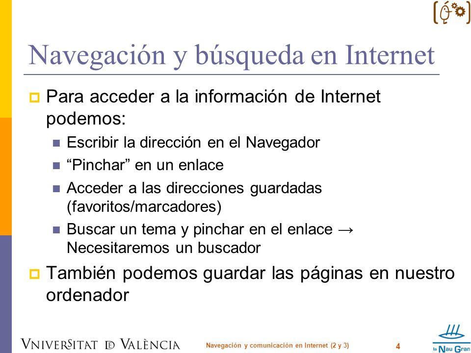 Navegación y búsqueda en Internet Navegación y comunicación en Internet (2 y 3) 15 AcciónComoBuscadores Búsqueda basada en el URL url: AltaVista, Excite, Northern Light url.all: AllTheWeb, Lycos (for AllTheWeb results only) allinurl: inurl: Google originurl: Inktomi (AOL, GoTo, HotBot) u: Yahoo none AOL, Direct Hit, HotBot, LookSmart, MSN Not yet updated, but may be still correct: Open Directory Búsqueda basada en el Link link: AltaVista, Google, Northern Light linkdomain: Inktomi (AOL, HotBot, iWon, MSN) (NOTE: measures links to entire domains) link.all: AllTheWeb, Lycos (for AllTheWeb results only) ninguno AOL, Direct Hit, Excite, HotBot, LookSmart, Northern Light Not yet updated, but may be still correct: Netscape, Yahoo (n/a)