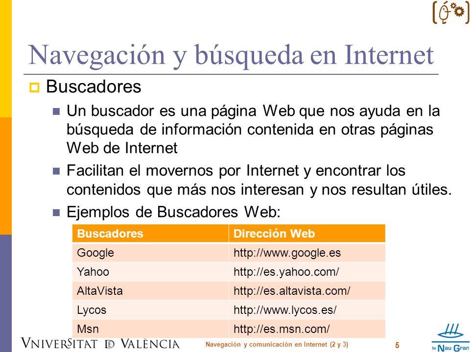Navegación y búsqueda en Internet Cómo buscar en la web búsqueda básica búsqueda avanzada por palabras / por frases exactas / excluyendo palabras por idioma / por región por formato por dominio Navegación y comunicación en Internet (2 y 3) 6