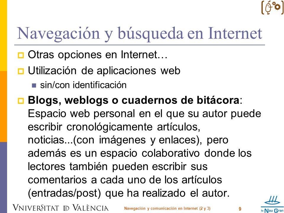 Navegación y búsqueda en Internet Ejemplos de servidores de weblog gratuitos: Bitácoras http://www.bitacoras.comhttp://www.bitacoras.com Blogger - Google http://www.blogger.comhttp://www.blogger.com Blogia http://blogia.comhttp://blogia.com WordPress http://wordpress.org/http://wordpress.org/ Wikis: es un espacio web corporativo, organizado mediante una estructura hipertextual de páginas (referenciadas en un menú lateral), donde varias personas autorizadas elaboran contenidos de manera asíncrona.