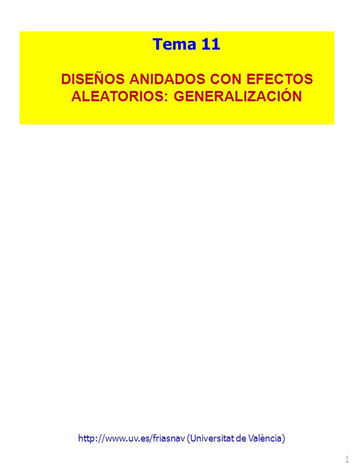 http://www.uv.es/friasnav (Universitat de València) 1 Tema 11 DISEÑOS ANIDADOS CON EFECTOS ALEATORIOS: GENERALIZACIÓN
