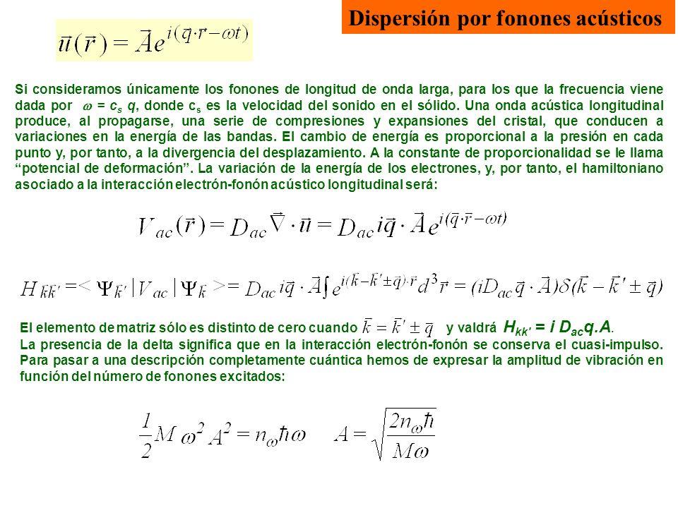 Dispersión por fonones acústicos Si consideramos únicamente los fonones de longitud de onda larga, para los que la frecuencia viene dada por = c s q,