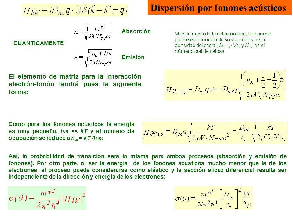 El elemento de matriz para la interacción electrón-fonón tendrá pues la siguiente forma: Así, la probabilidad de transición será la misma para ambos p