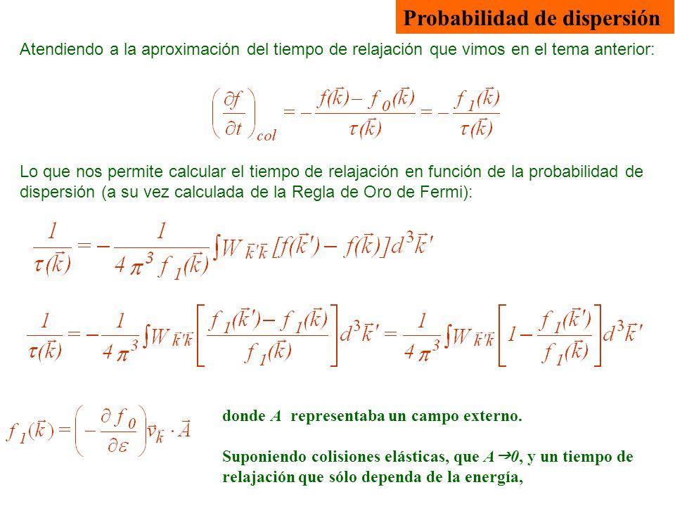 Atendiendo a la aproximación del tiempo de relajación que vimos en el tema anterior: Probabilidad de dispersión Lo que nos permite calcular el tiempo