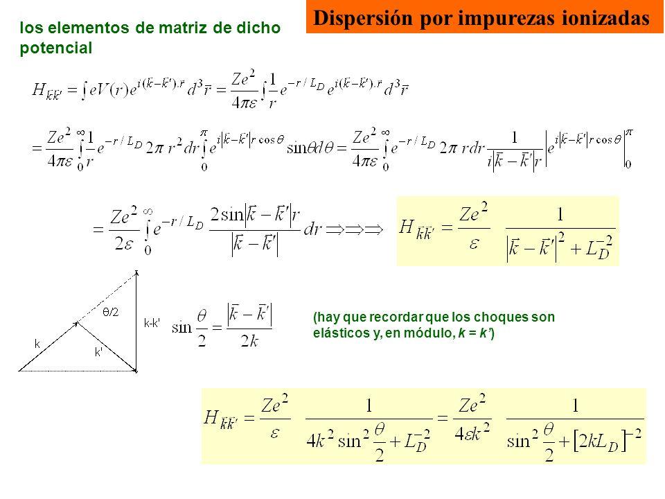 Dispersión por impurezas ionizadas Para L D grande, esta expresión se reduce a la fórmula de Rutherford, que daba una sección eficaz de colisión de partículas, ( )=cte [sin ( )] -4.