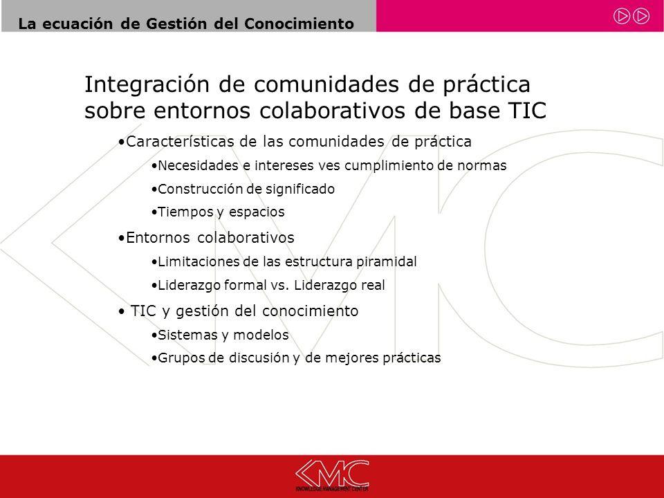La ecuación de Gestión del Conocimiento Integración de comunidades de práctica sobre entornos colaborativos de base TIC Características de las comunid