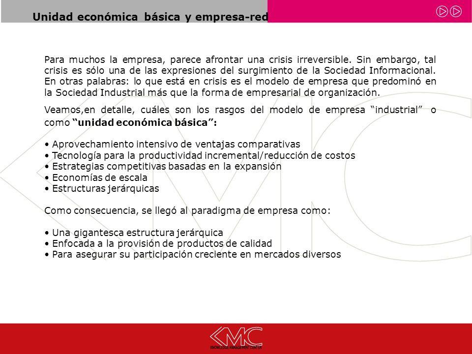 Unidad económica básica y empresa-red Para muchos la empresa, parece afrontar una crisis irreversible.