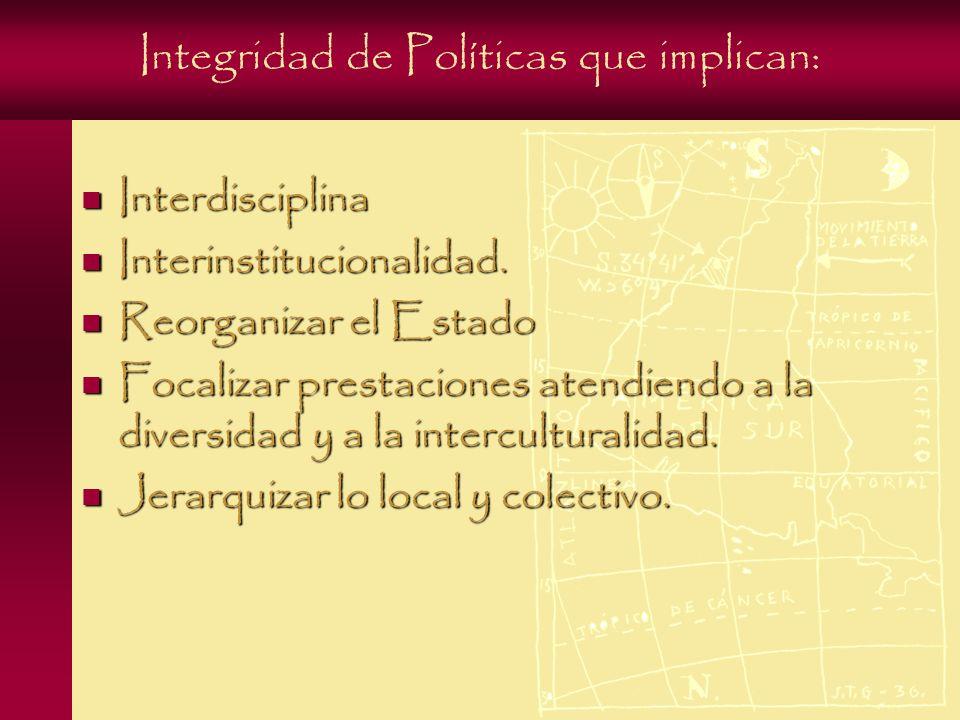 Integridad de Políticas que implican: Interdisciplina Interdisciplina Interinstitucionalidad.