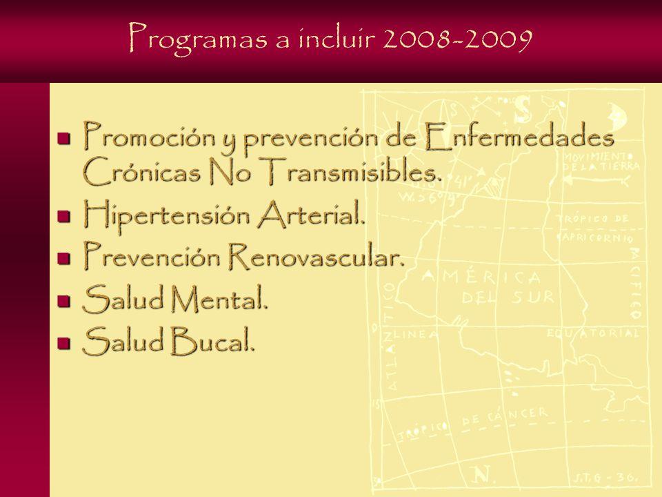 Programas a incluir 2008-2009 Promoción y prevención de Enfermedades Crónicas No Transmisibles.