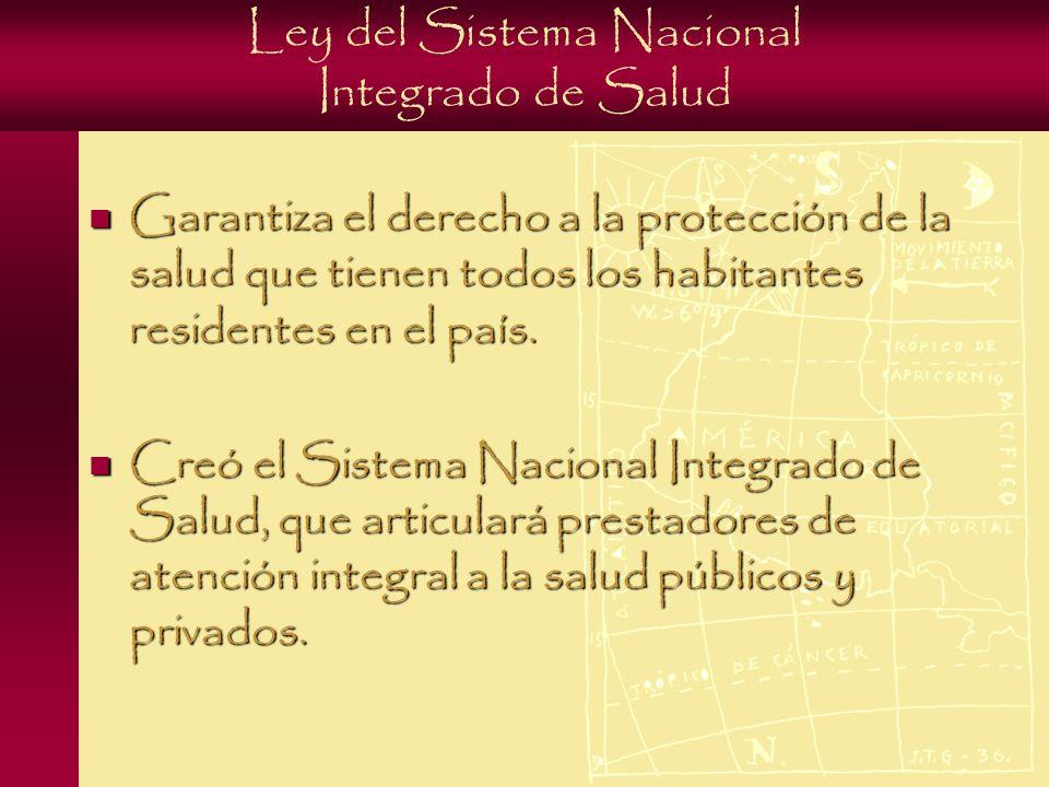 Ley del Sistema Nacional Integrado de Salud Garantiza el derecho a la protección de la salud que tienen todos los habitantes residentes en el país.