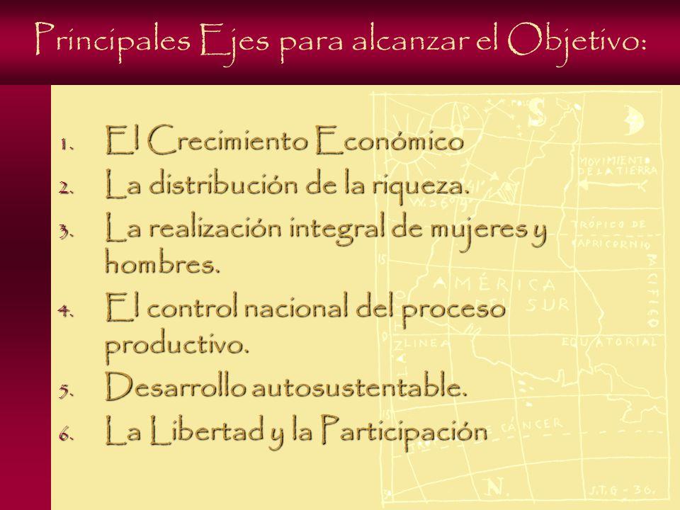 Principales Ejes para alcanzar el Objetivo: 1. El Crecimiento Económico 2.