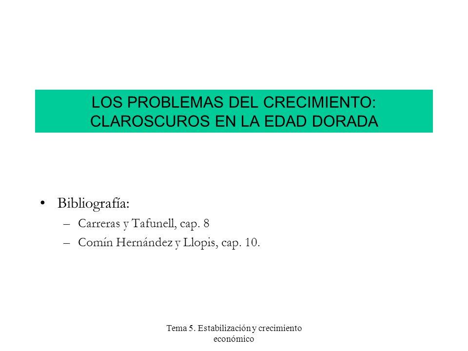 Tema 5. Estabilización y crecimiento económico LOS PROBLEMAS DEL CRECIMIENTO: CLAROSCUROS EN LA EDAD DORADA Bibliografía: –Carreras y Tafunell, cap. 8