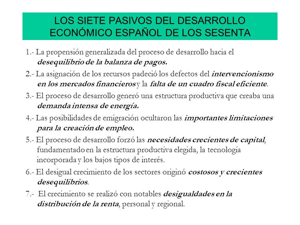 LOS SIETE PASIVOS DEL DESARROLLO ECONÓMICO ESPAÑOL DE LOS SESENTA 1.- La propensión generalizada del proceso de desarrollo hacia el desequilibrio de l