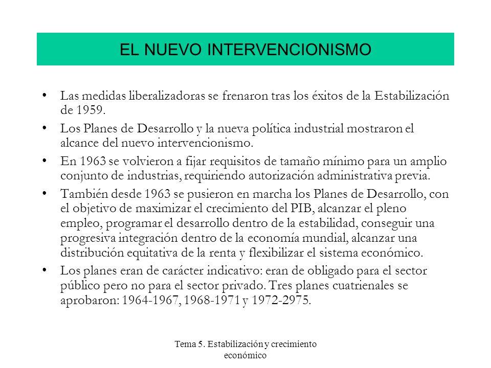 Tema 5. Estabilización y crecimiento económico EL NUEVO INTERVENCIONISMO Las medidas liberalizadoras se frenaron tras los éxitos de la Estabilización